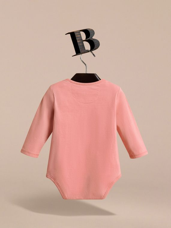 Lady Print Cotton Bodysuit in Apricot Pink | Burberry - cell image 3