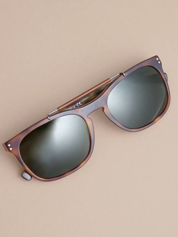 Top Bar Square Frame Sunglasses in Brown | Burberry Australia - cell image 2