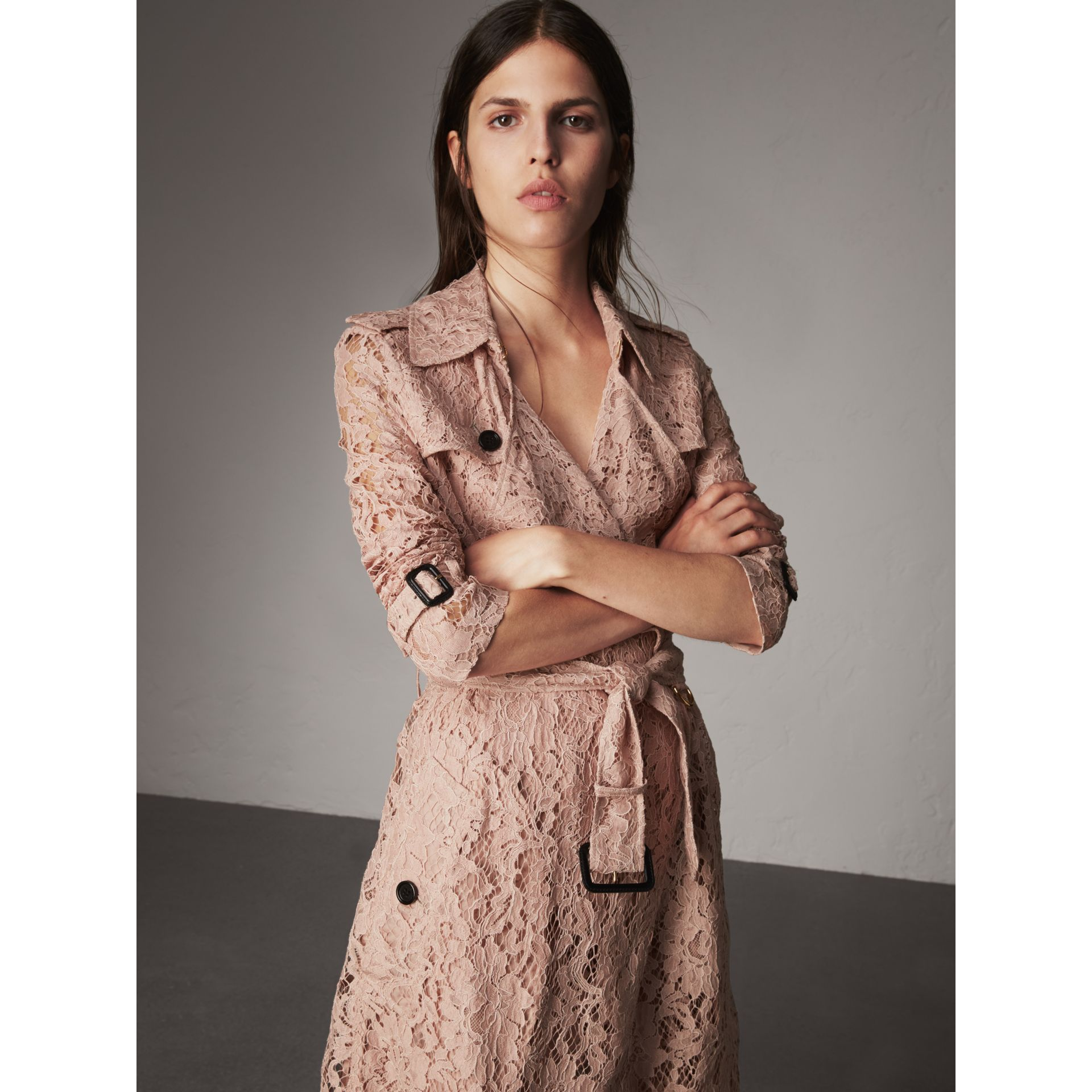 Macramé Lace Trench Coat in Pale Pink - Women | Burberry Singapore - gallery image 5