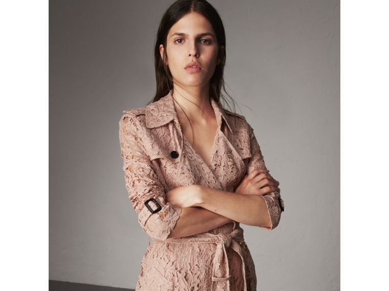 Macramé Lace Trench Coat in Pale Pink - Women | Burberry United Kingdom - cell image 4
