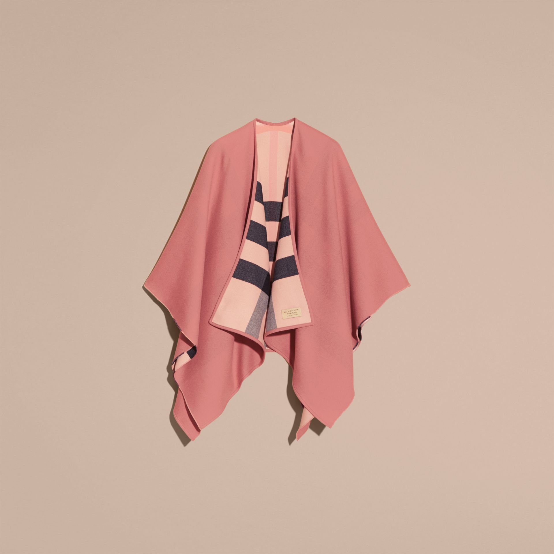 Reversible Check Merino Wool Poncho Ash Rose - gallery image 4