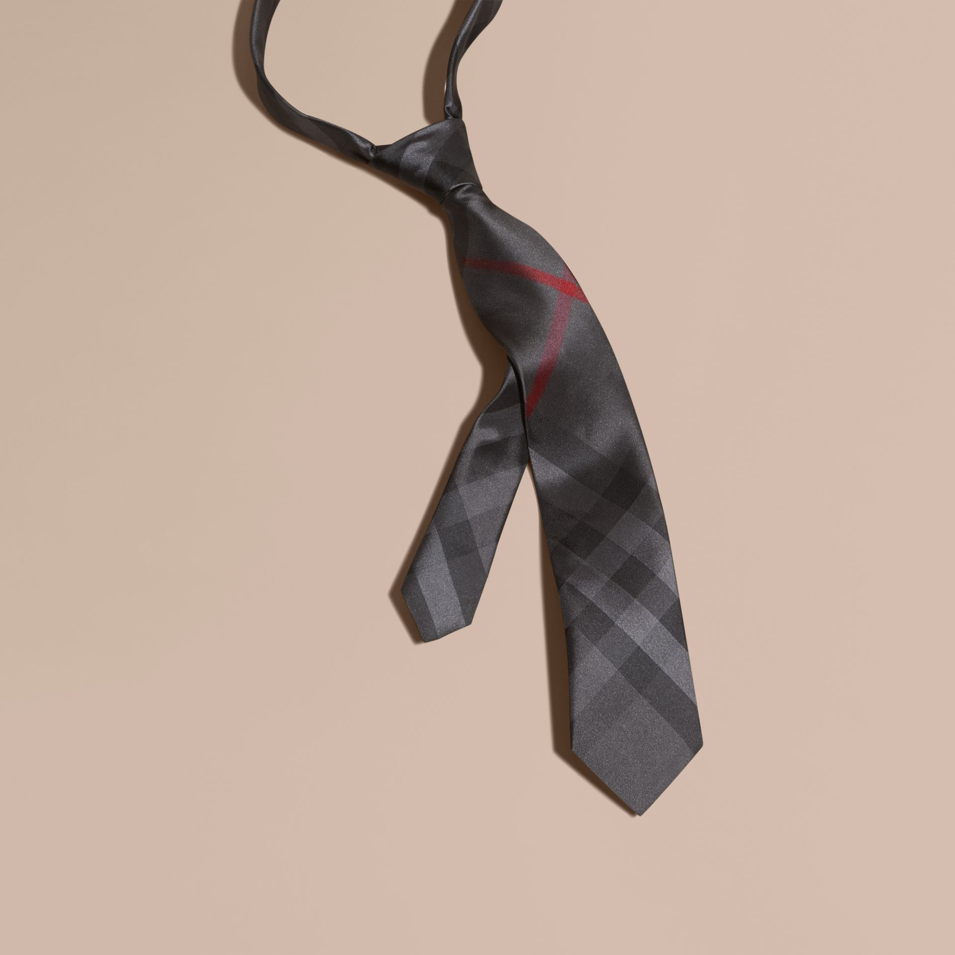 Charcoal Modern Cut Check Silk Tie Charcoal - gallery image 1