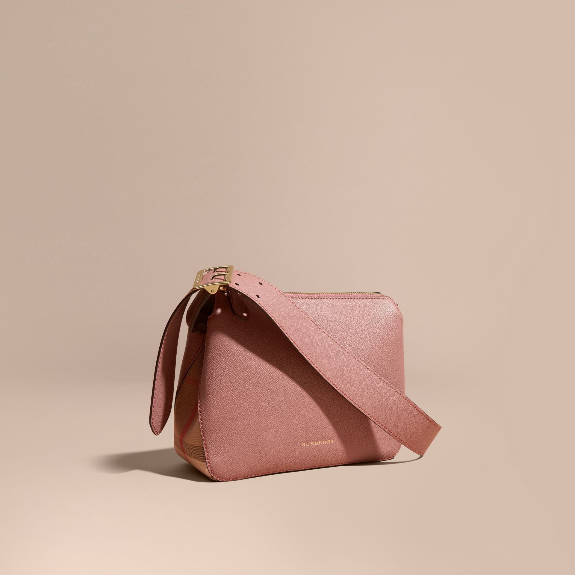 Buckle Detail Leather and House Check Crossbody Bag in Dusty Pink - gallery image 1