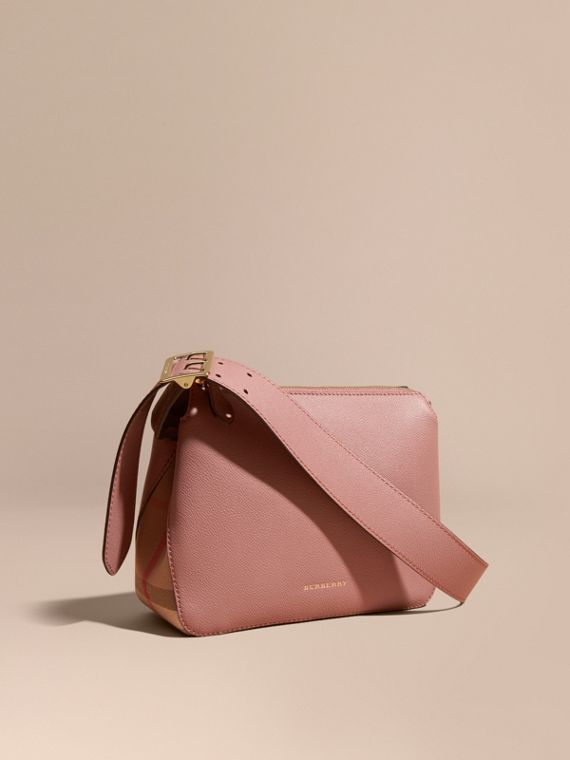 Buckle Detail Leather and House Check Crossbody Bag in Dusty Pink