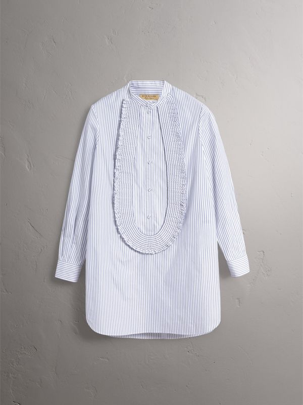 Ruffle Detail Striped Cotton Tunic Shirt in Navy/white - Women | Burberry - cell image 3