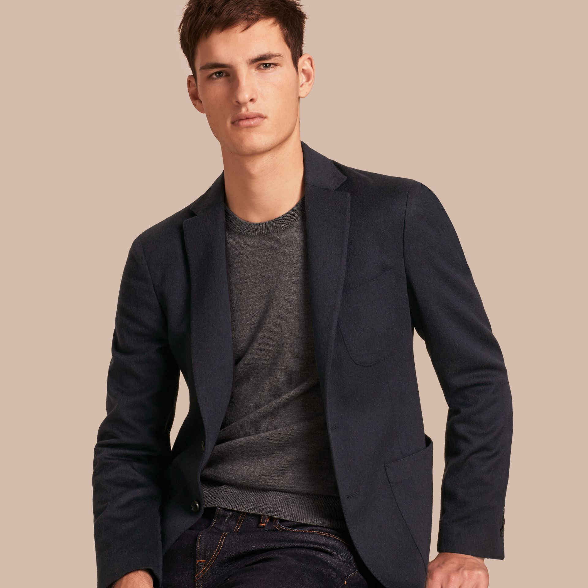 Modern Fit Lightweight Cashmere Tailored Jacket Navy Melange - gallery image 1