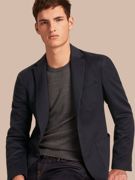 Modern Fit Lightweight Cashmere Tailored Jacket Navy Melange