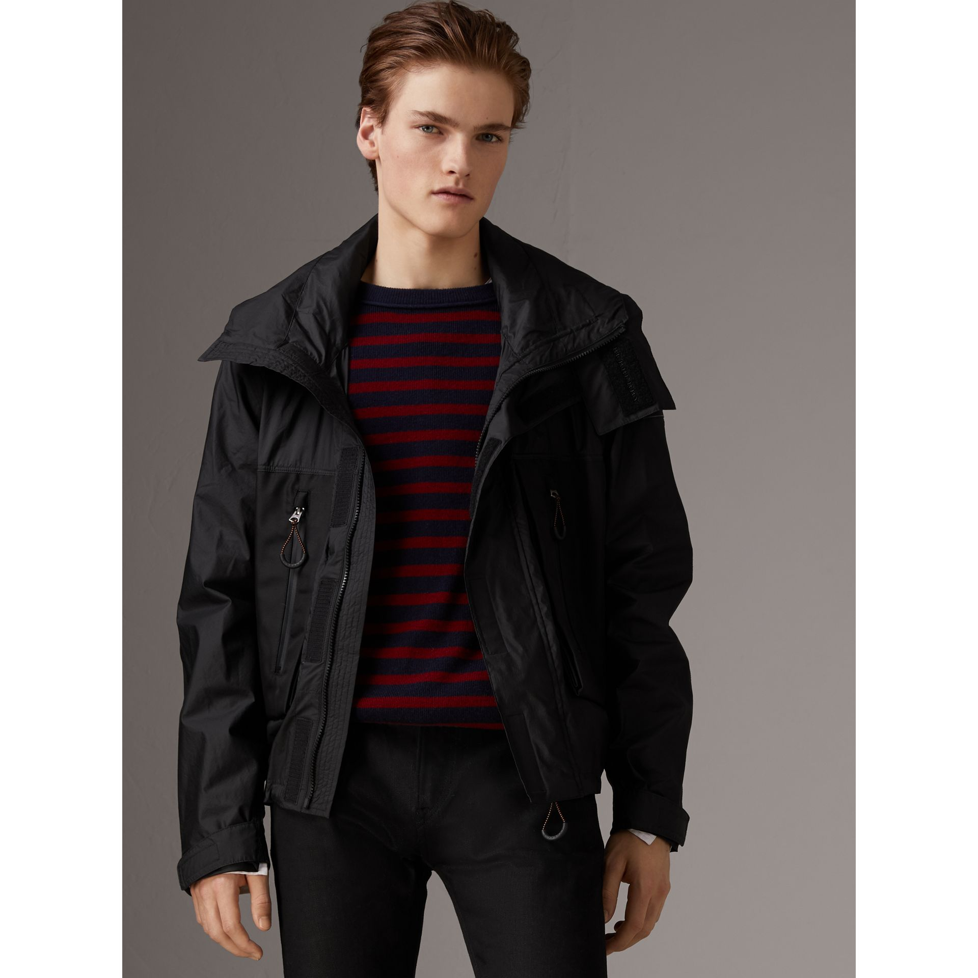 Packaway Hood Funnel-neck Jacket in Black - Men | Burberry - gallery image 5