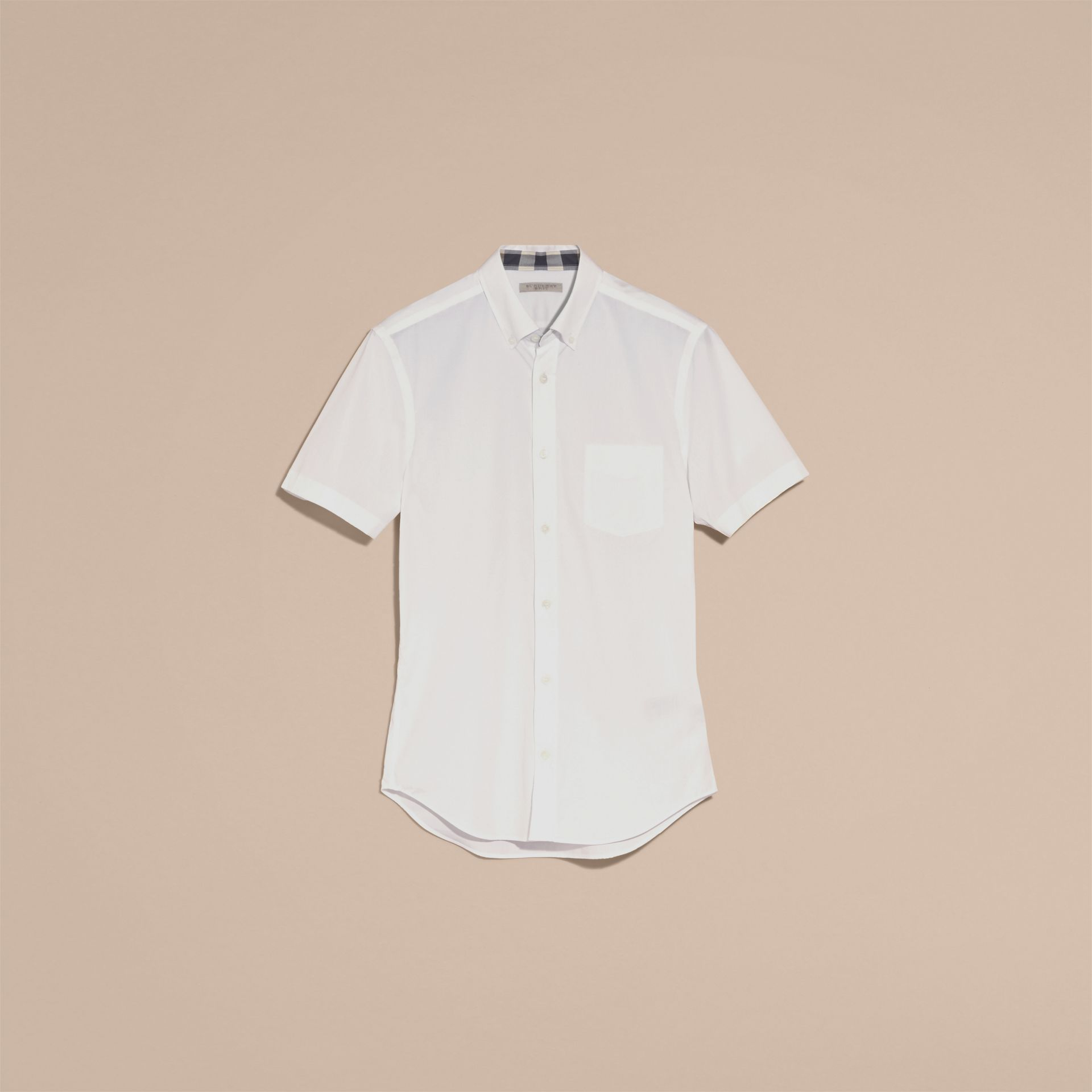 Short-sleeved Stretch Cotton Poplin Shirt White - gallery image 4