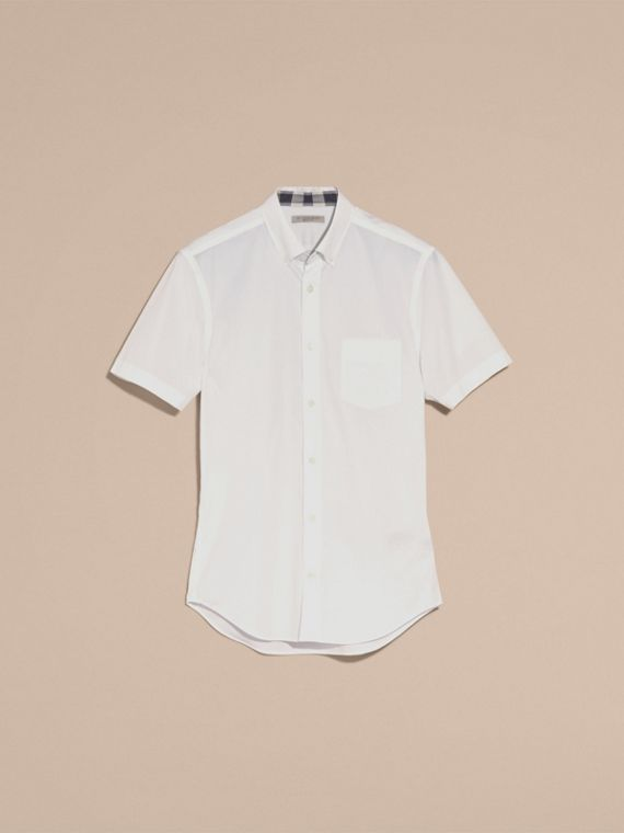 Short-sleeved Stretch Cotton Poplin Shirt in White - Men | Burberry - cell image 3