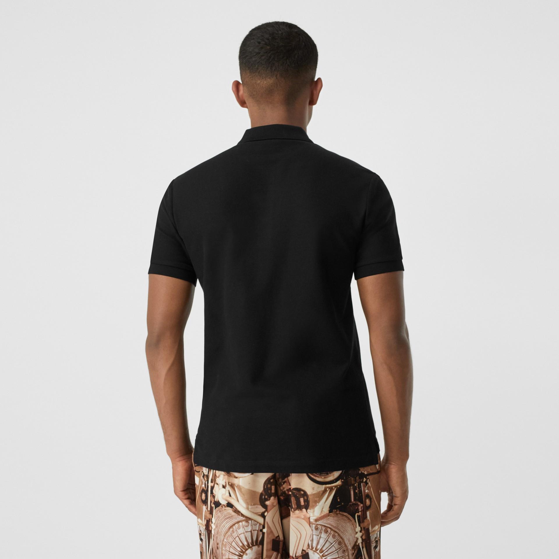 Contrast Logo Graphic Cotton Piqué Polo Shirt in Black - Men   Burberry - gallery image 2