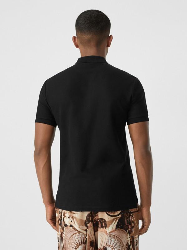 Contrast Logo Graphic Cotton Piqué Polo Shirt in Black - Men   Burberry - cell image 2