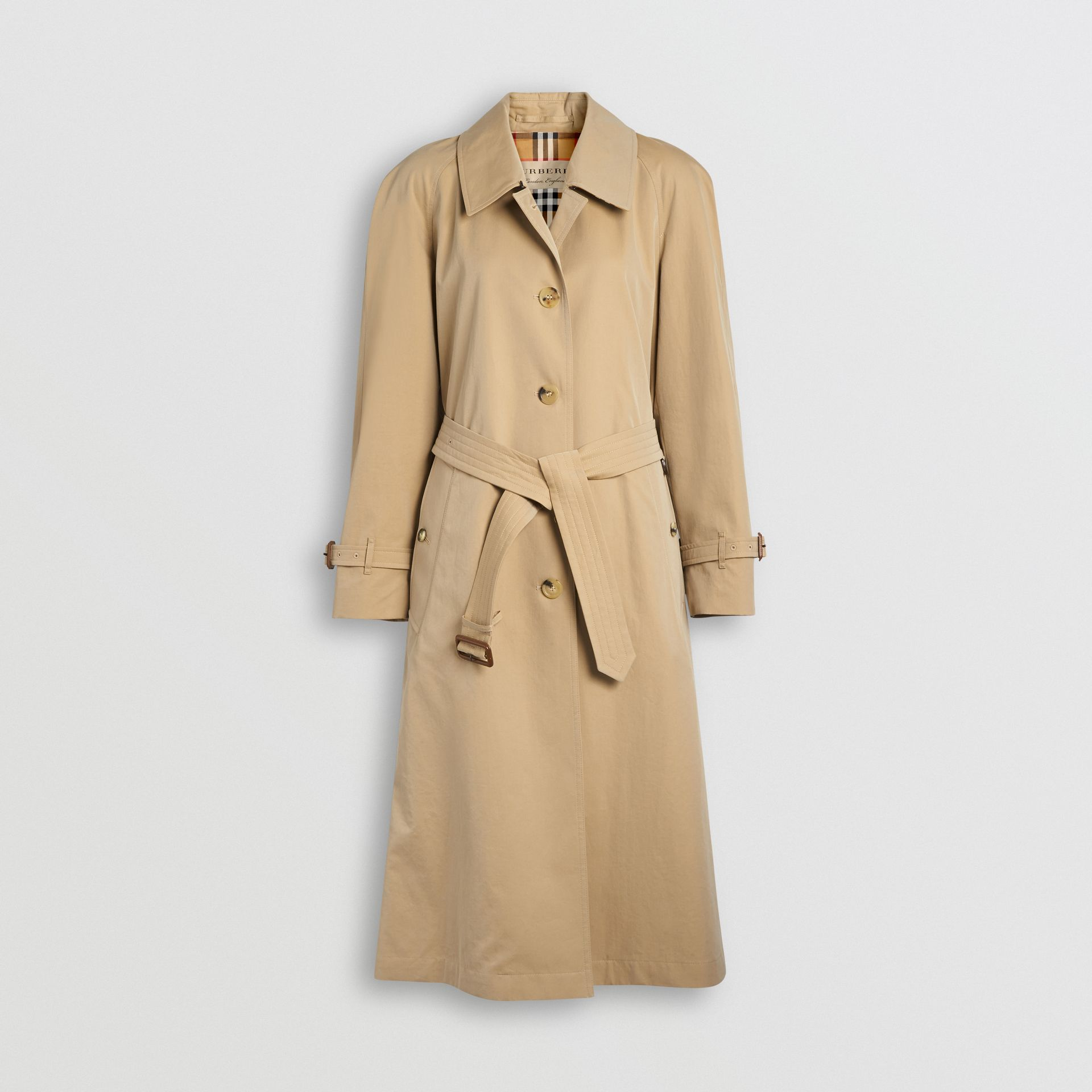 Side-slit Tropical Gabardine Trench Coat in Honey - Women | Burberry Australia - gallery image 3