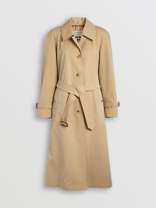 Trench coat in gabardine tropicale con spacchi laterali (Miele) - Donna | Burberry - cell image 3