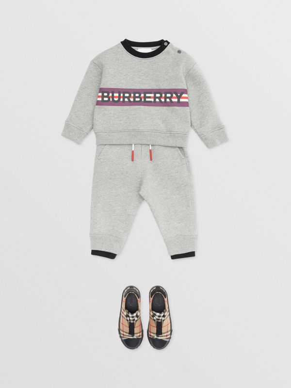 Logo Detail Jersey Trackpants in Grey Melange - Children | Burberry Canada - cell image 2