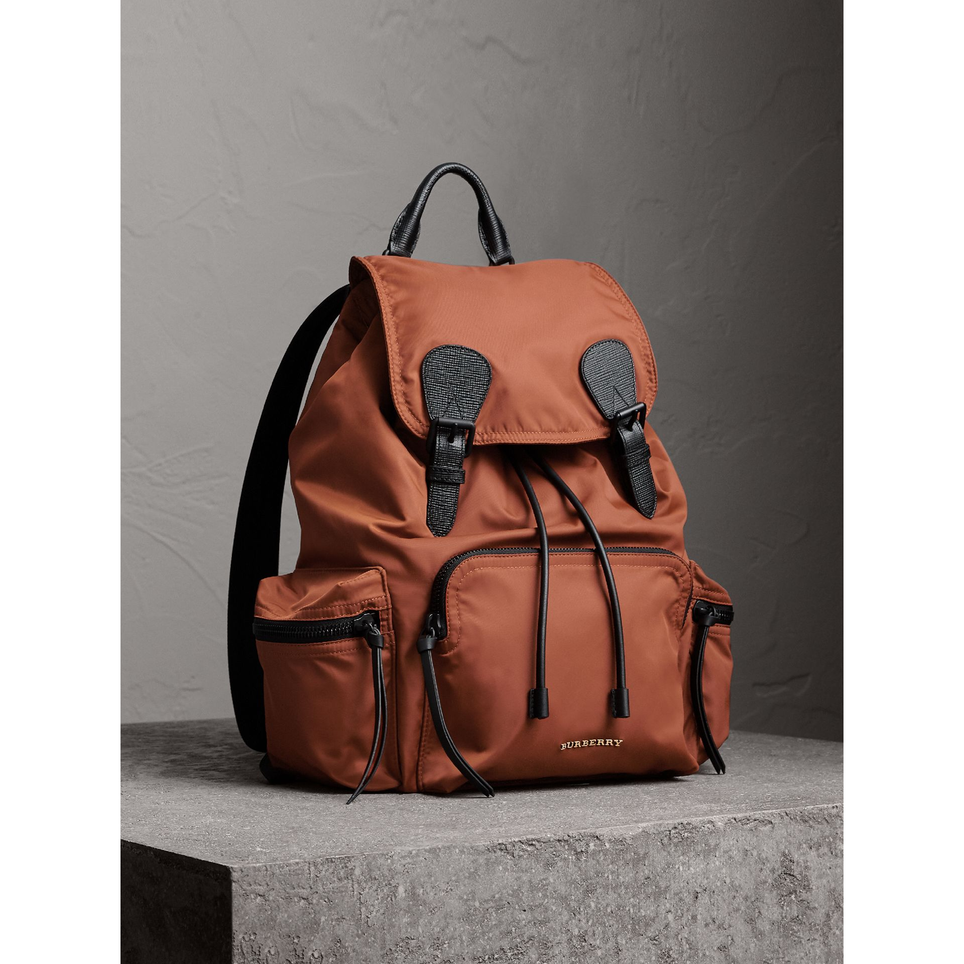 The Large Rucksack in Technical Nylon and Leather in Redwood - Men | Burberry - gallery image 1