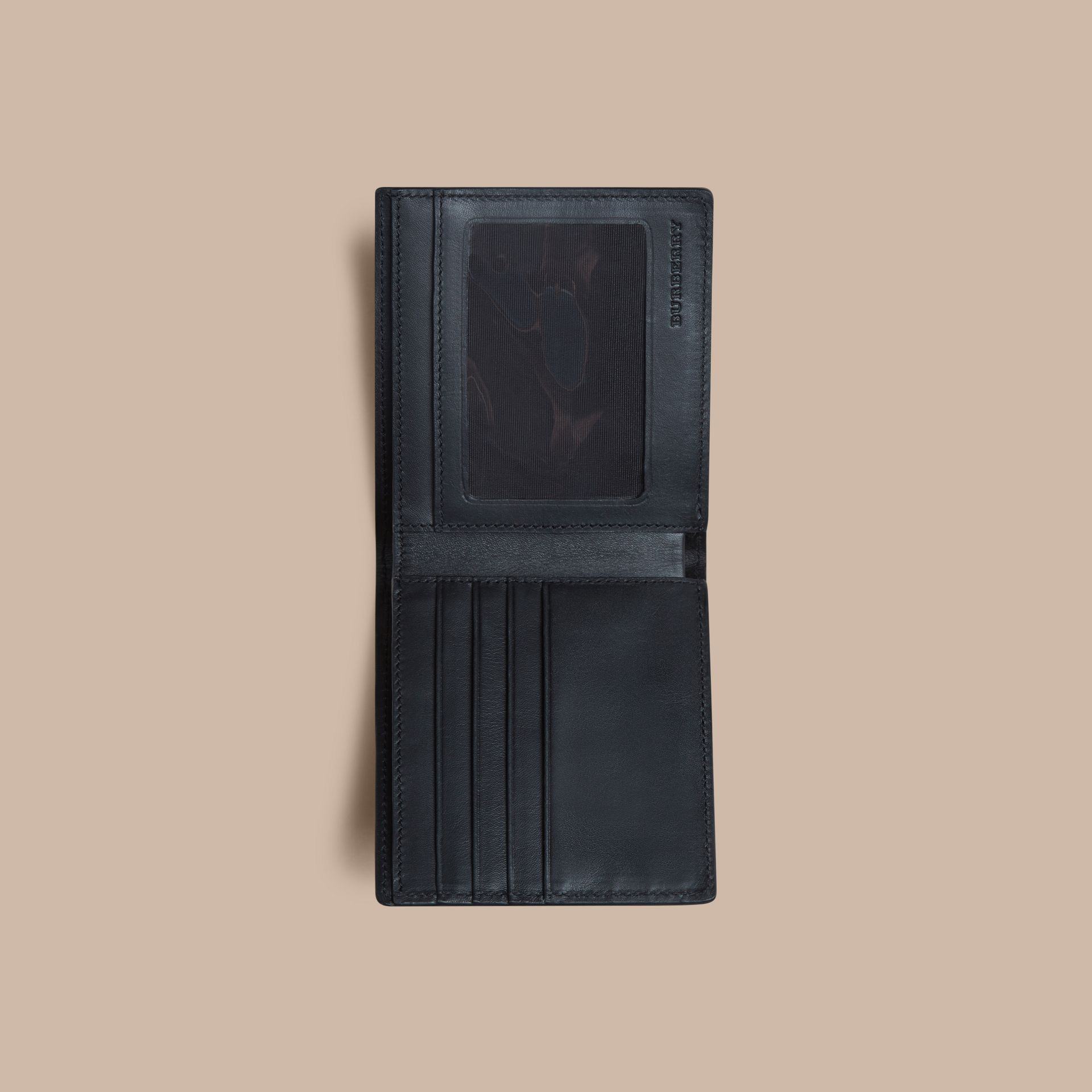 London Check ID Wallet in Navy/black - gallery image 4