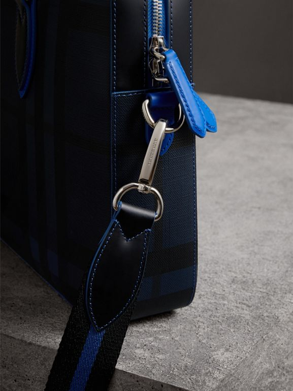 Medium Leather Trim London Check Briefcase in Navy/blue - Men | Burberry United Kingdom - cell image 1