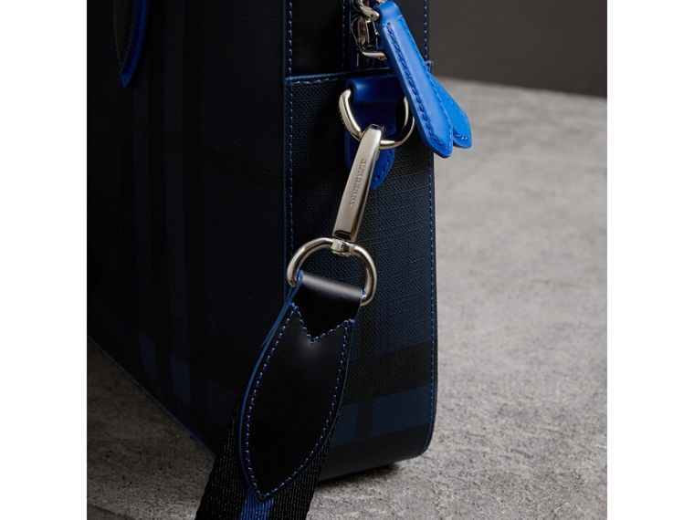 Medium Leather Trim London Check Briefcase in Navy/blue - Men | Burberry Hong Kong - cell image 1