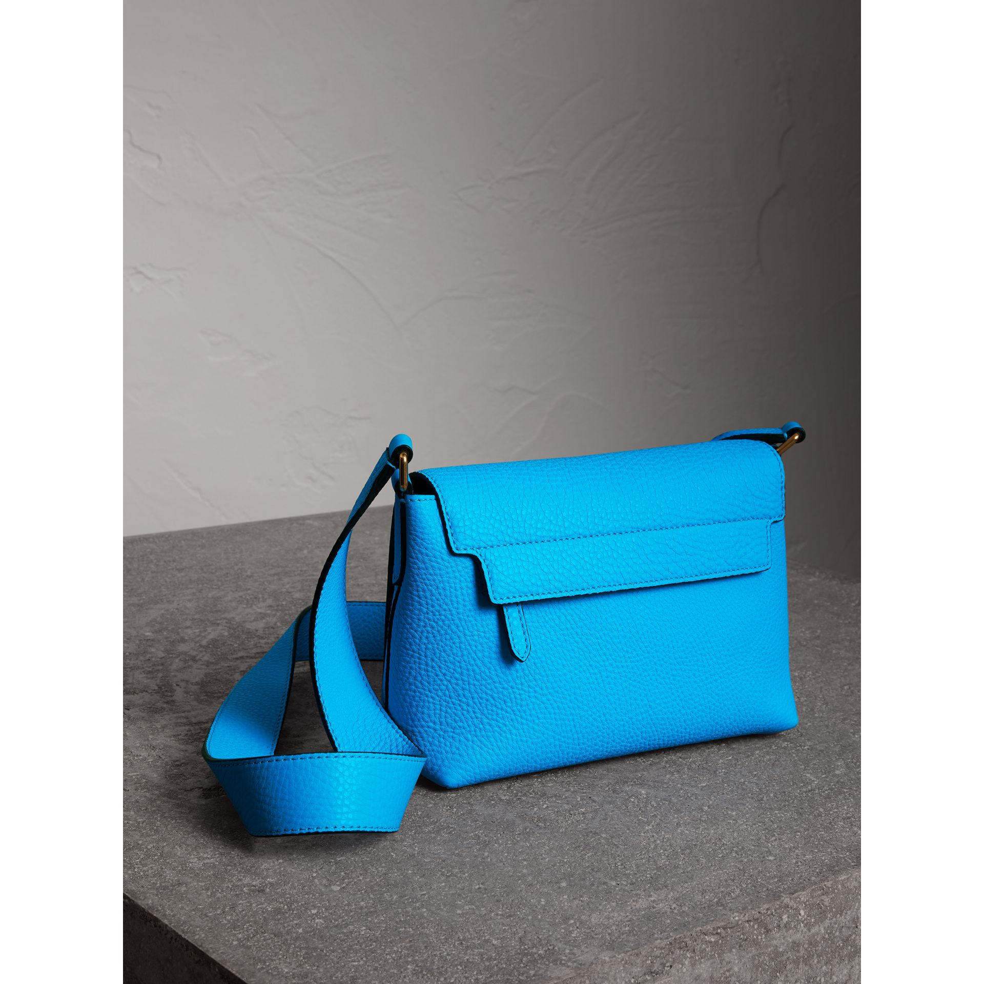 Small Embossed Neon Leather Messenger Bag in Blue | Burberry - gallery image 4