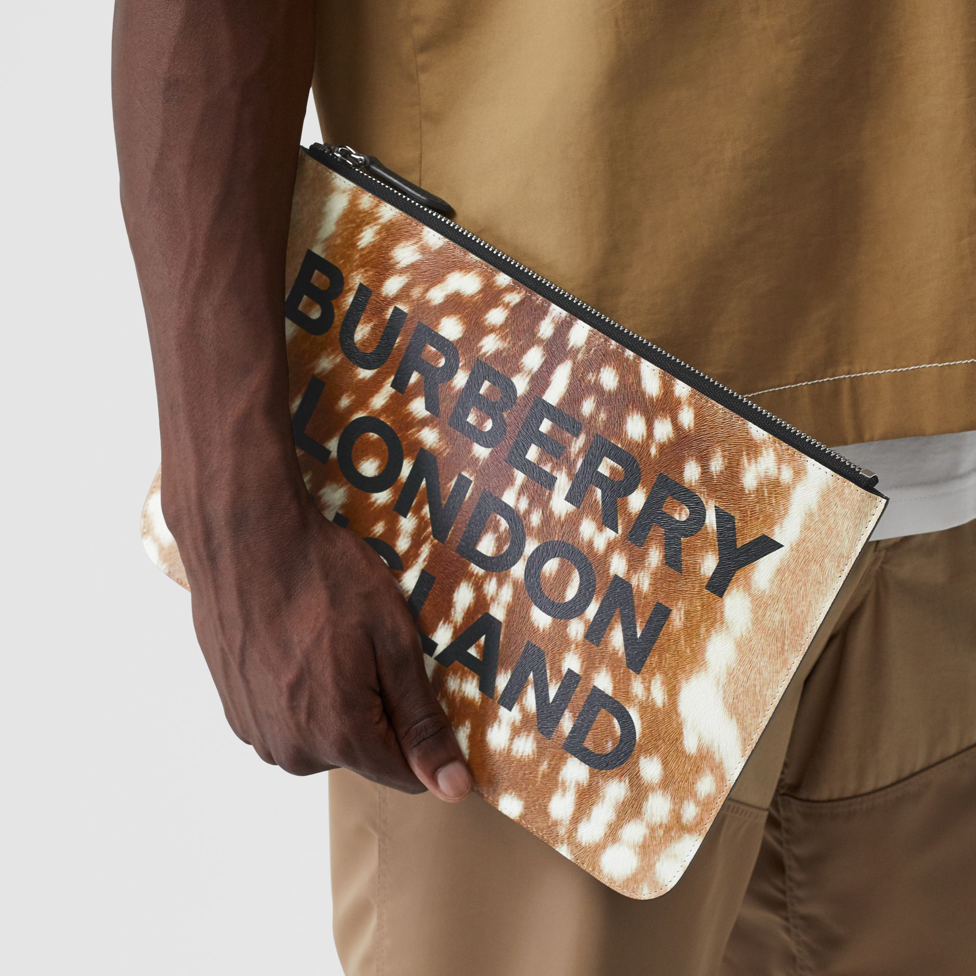 Deer Print Leather Zip Pouch in Tan | Burberry - gallery image 2