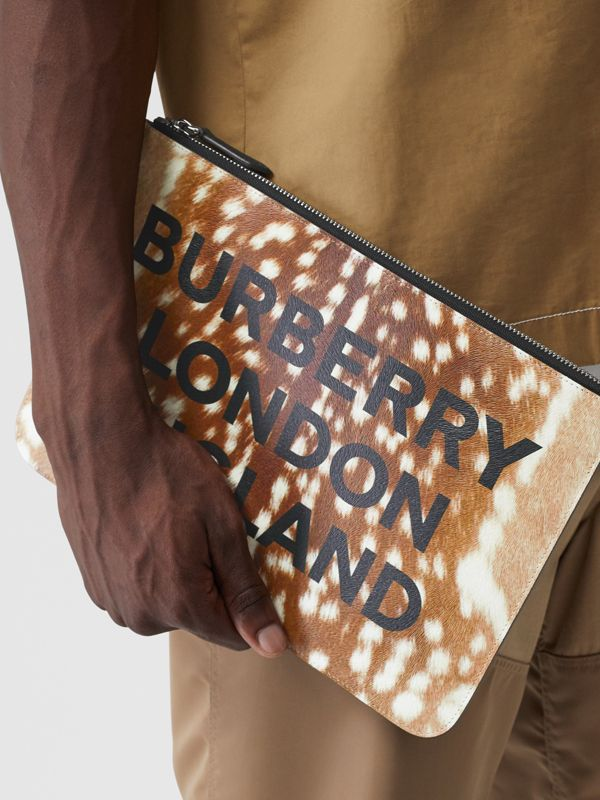 Deer Print Leather Zip Pouch in Tan | Burberry - cell image 2