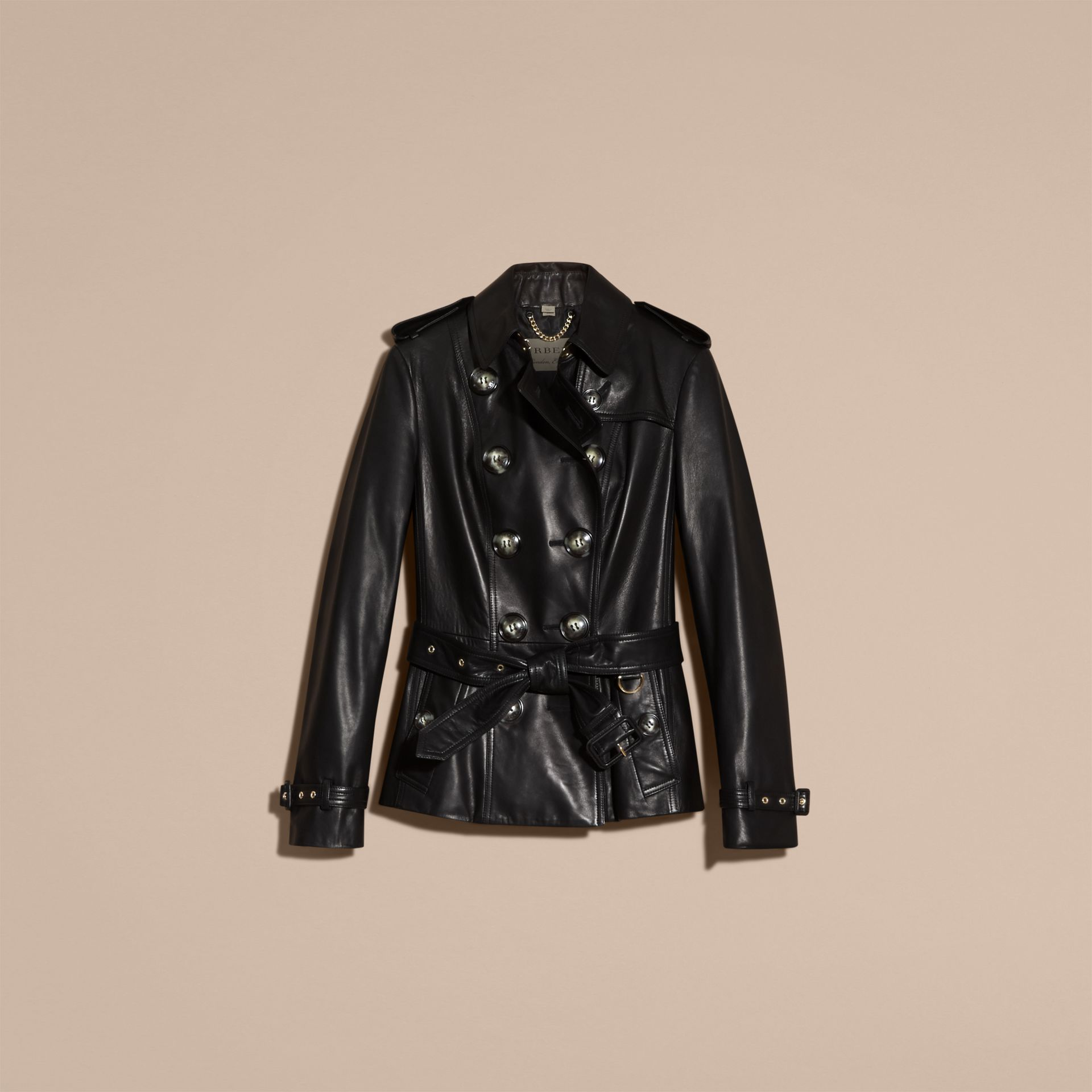 Black Lambksin Trench Jacket - gallery image 4