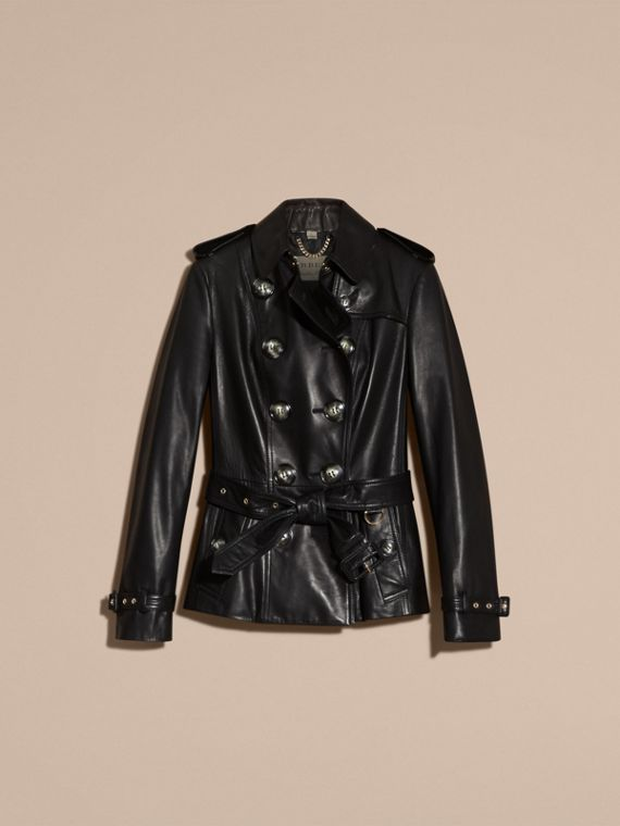 Black Lambksin Trench Jacket - cell image 3