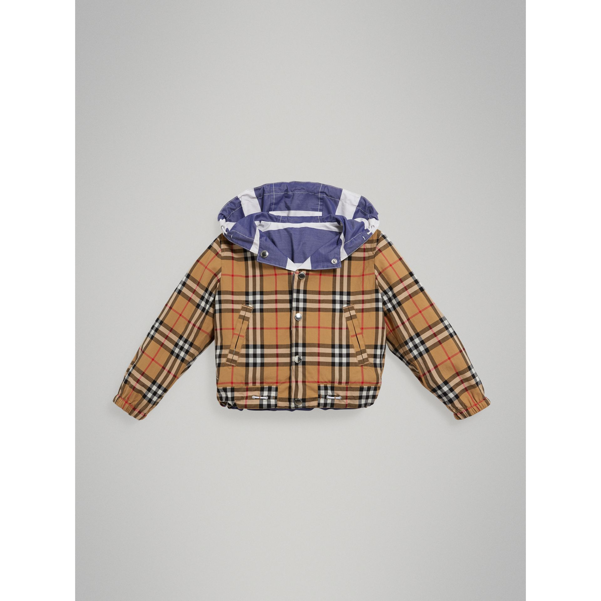 Reversible Stripe and Vintage Check Hooded Jacket in Navy/white - Children | Burberry - gallery image 1
