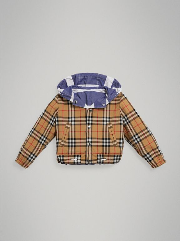 Reversible Stripe and Vintage Check Hooded Jacket in Navy/white - Children | Burberry - cell image 1
