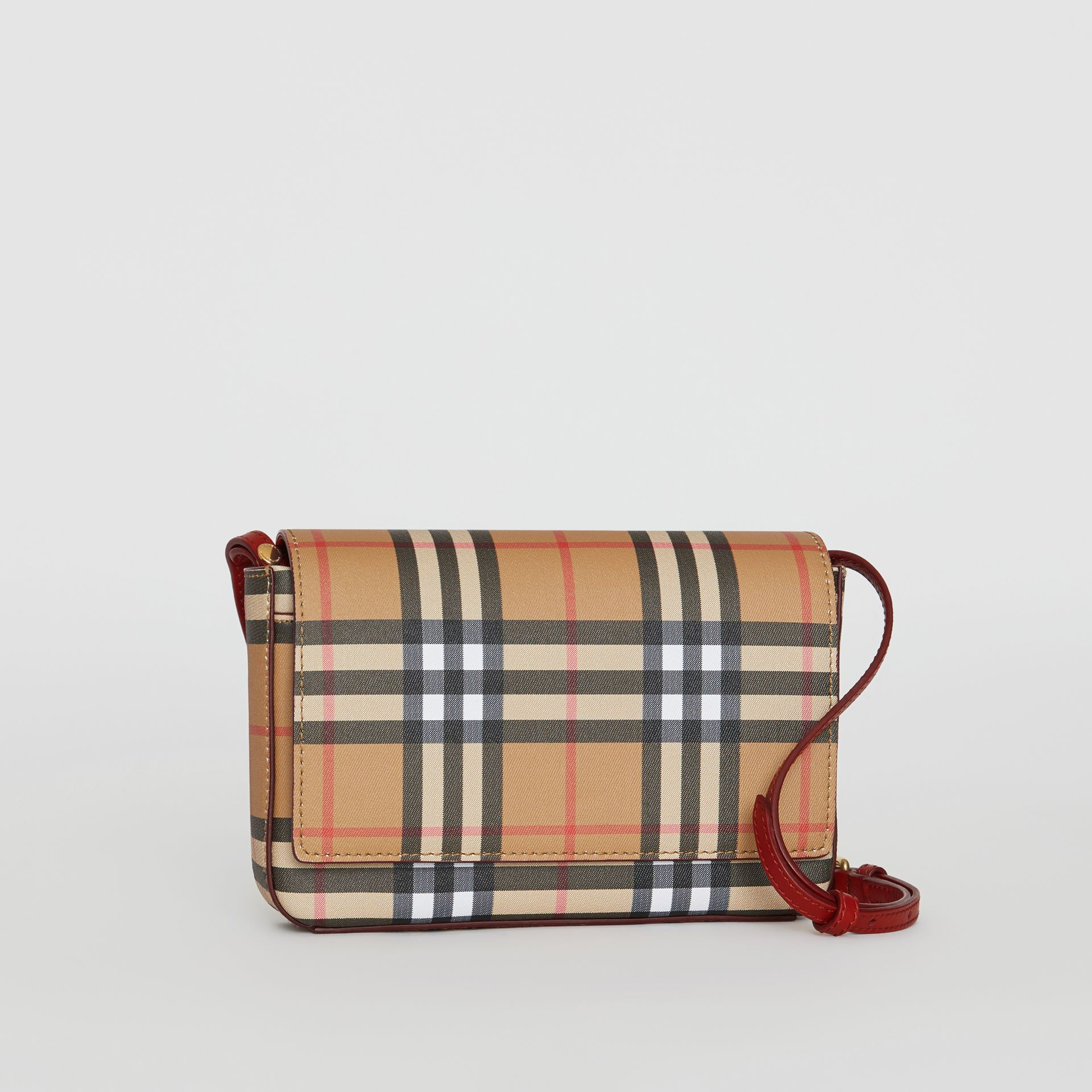 Small Vintage Check and Leather Crossbody Bag in Crimson - Women | Burberry - gallery image 6