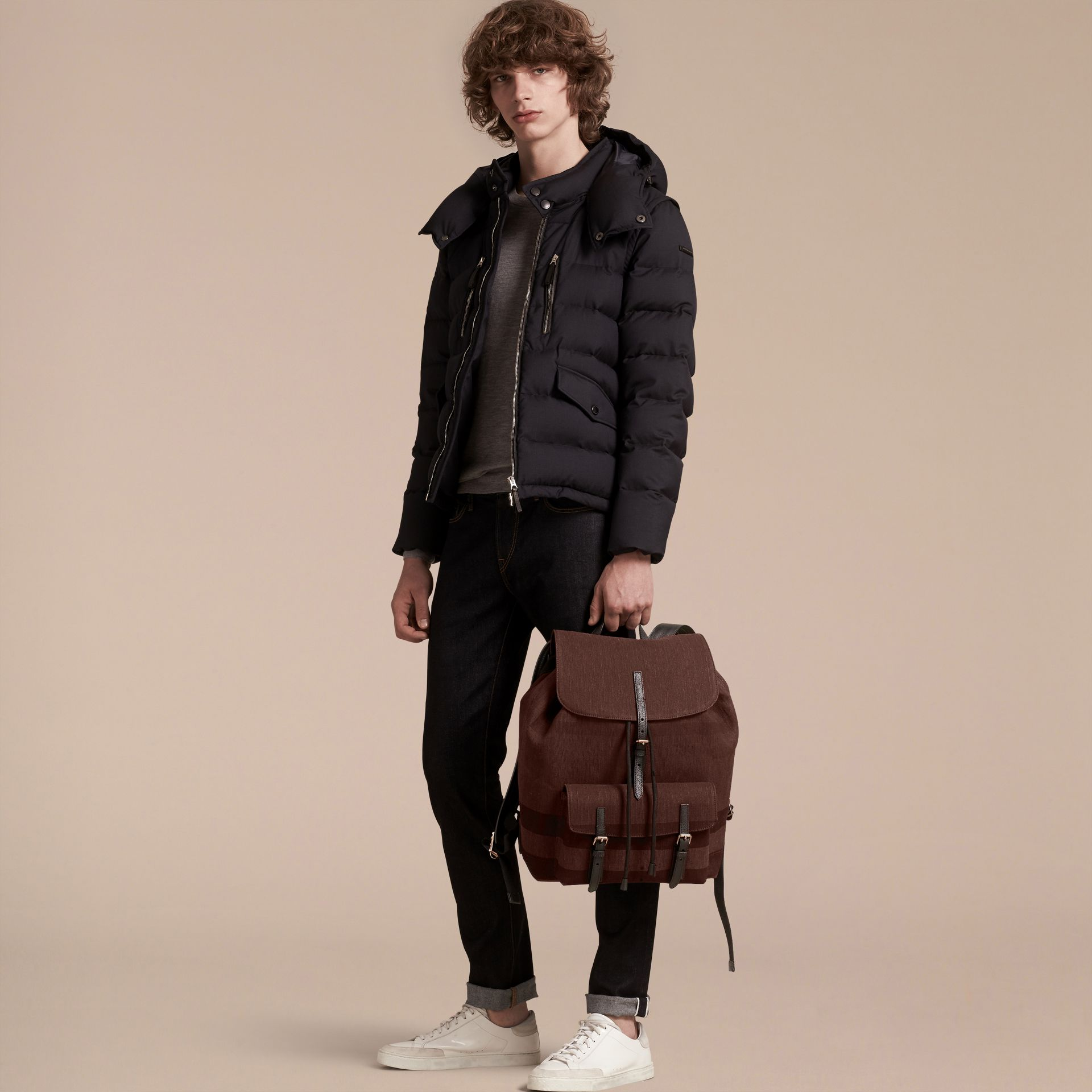 Claret Overdyed Canvas Check Backpack Claret - gallery image 3
