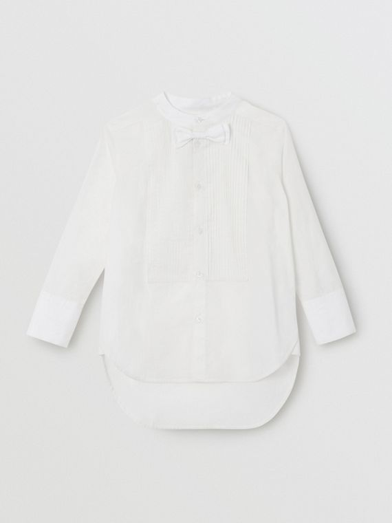 Bow Tie Detail Stretch Cotton Poplin Shirt in White
