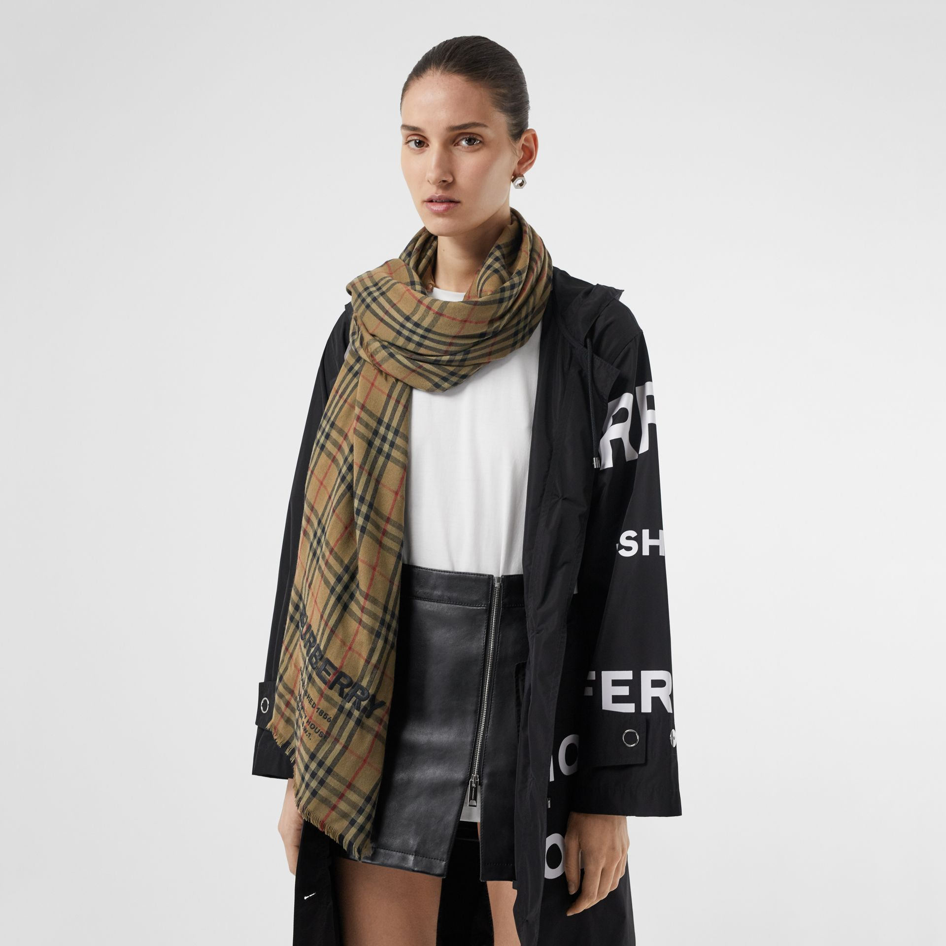 Embroidered Vintage Check Lightweight Cashmere Scarf in Olive Green | Burberry - gallery image 2