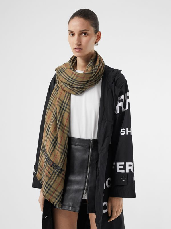 Embroidered Vintage Check Lightweight Cashmere Scarf in Olive Green | Burberry Canada - cell image 2
