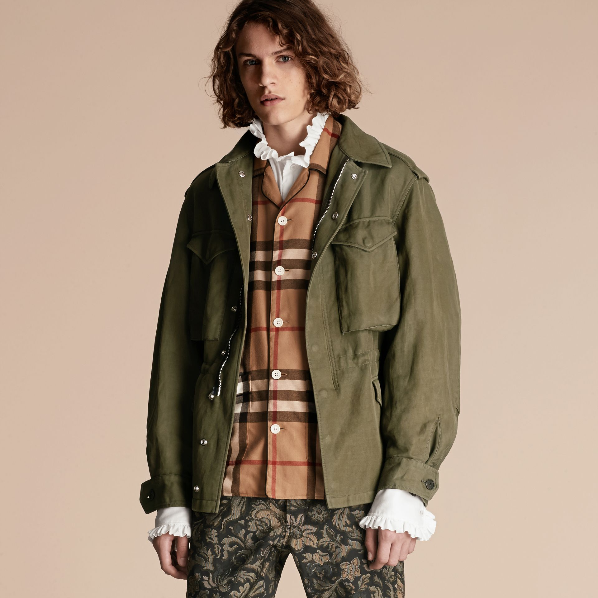Military green Tumbled Ramie Cotton Twill Field Jacket - gallery image 7