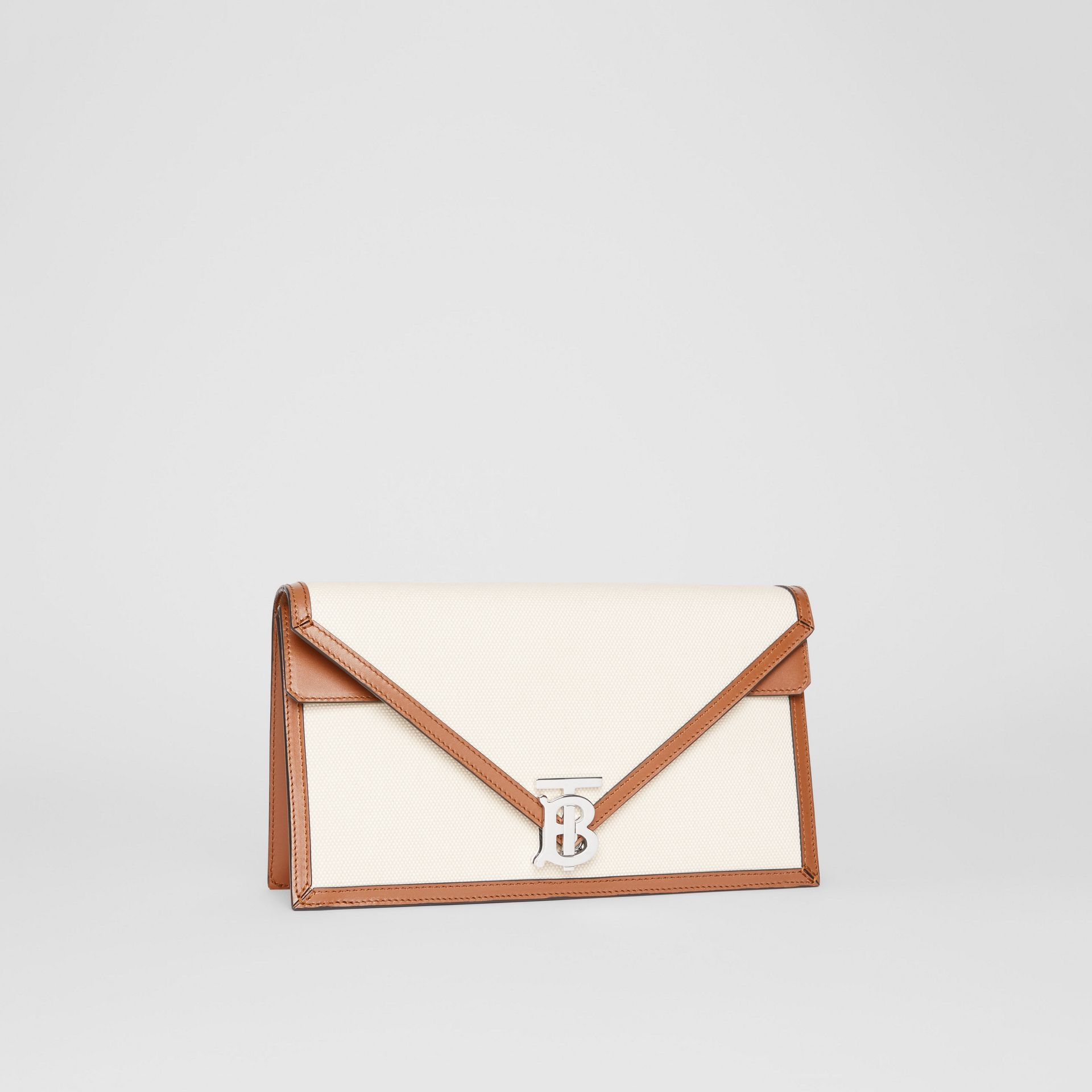 Small Canvas and Leather TB Envelope Clutch in Natural - Women | Burberry Canada - gallery image 5