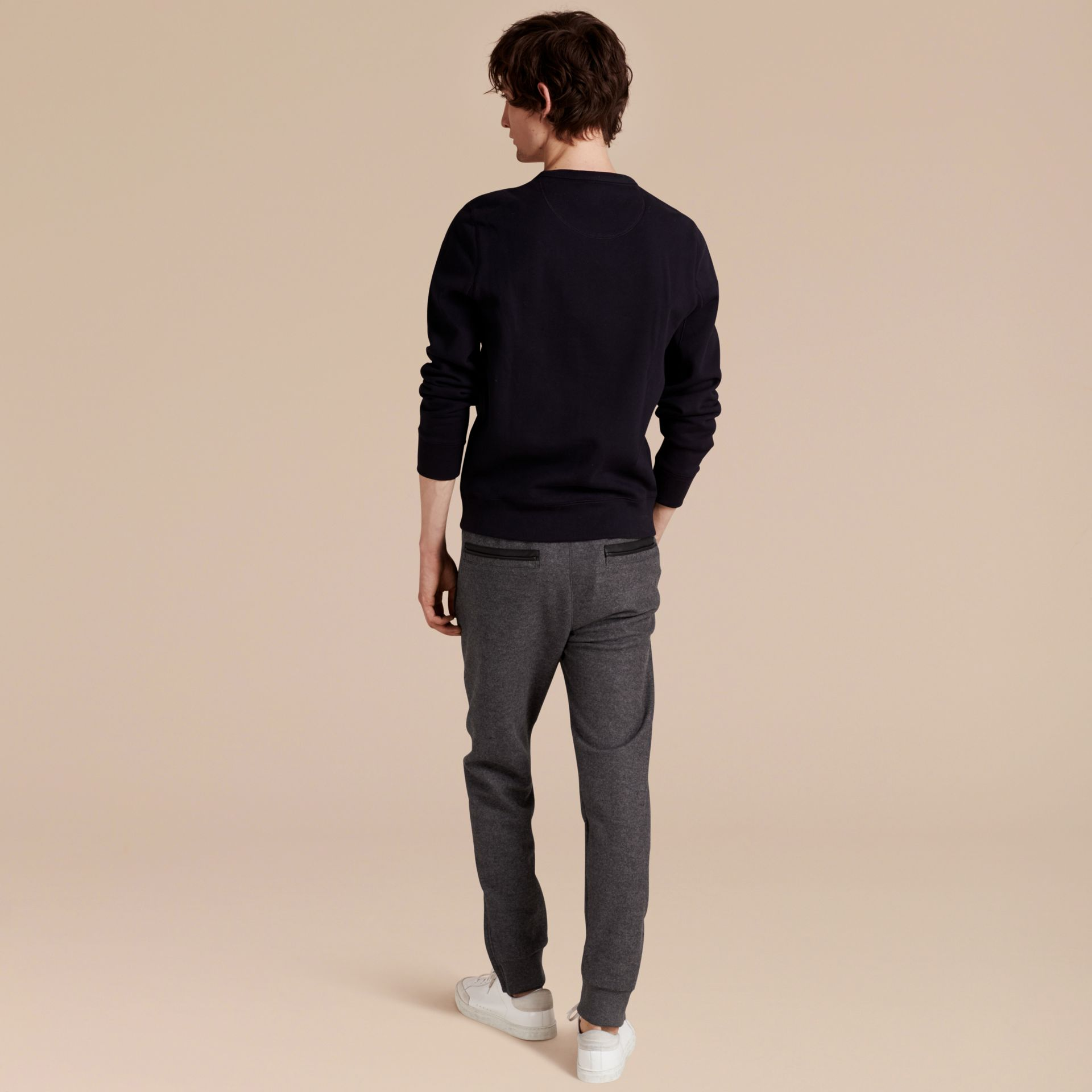 Mid grey melange Leather-trimmed Technical Wool Sweat Pants - gallery image 3