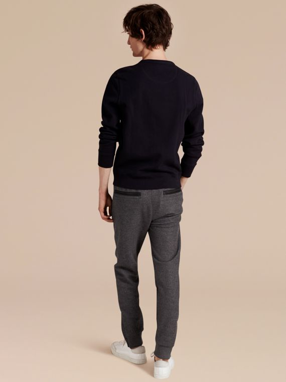 Mid grey melange Leather-trimmed Technical Wool Sweat Pants - cell image 2