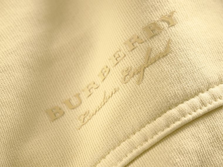 Unisex Pigment-dyed Cotton Oversize Sweatshirt in Pale Yellow - Women | Burberry Hong Kong - cell image 1
