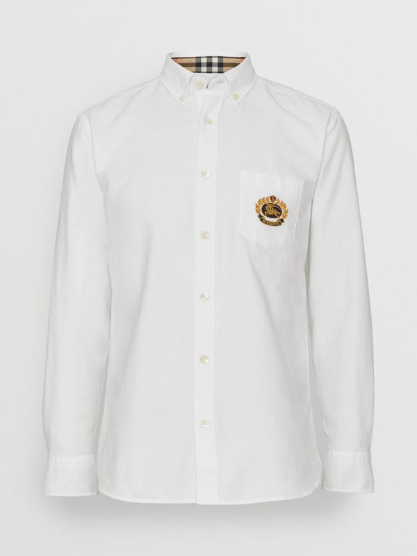 Embroidered Archive Logo Cotton Oxford Shirt in White - Men | Burberry United States - cell image 3