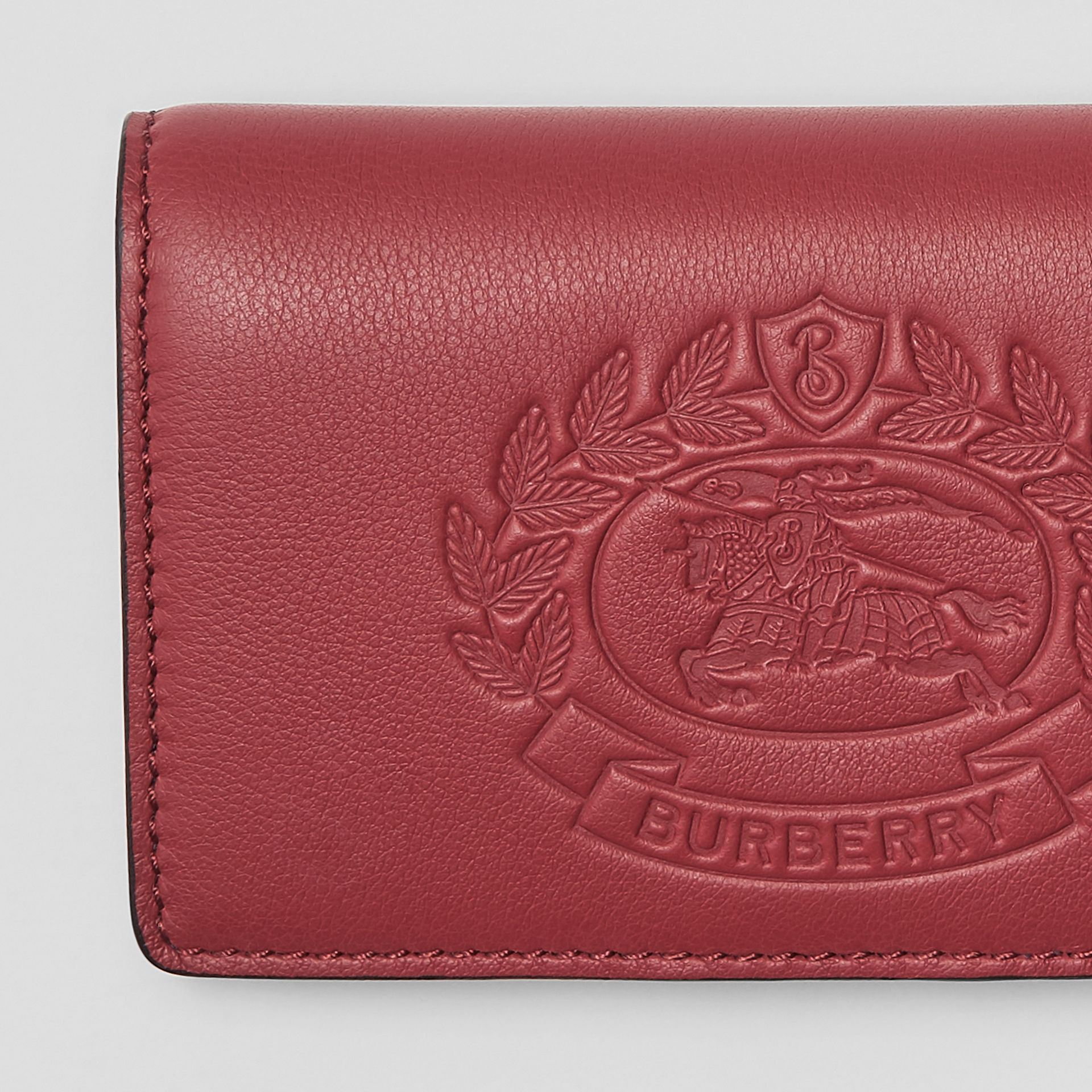 Small Embossed Crest Two-tone Leather Wallet in Crimson - Women | Burberry Australia - gallery image 1