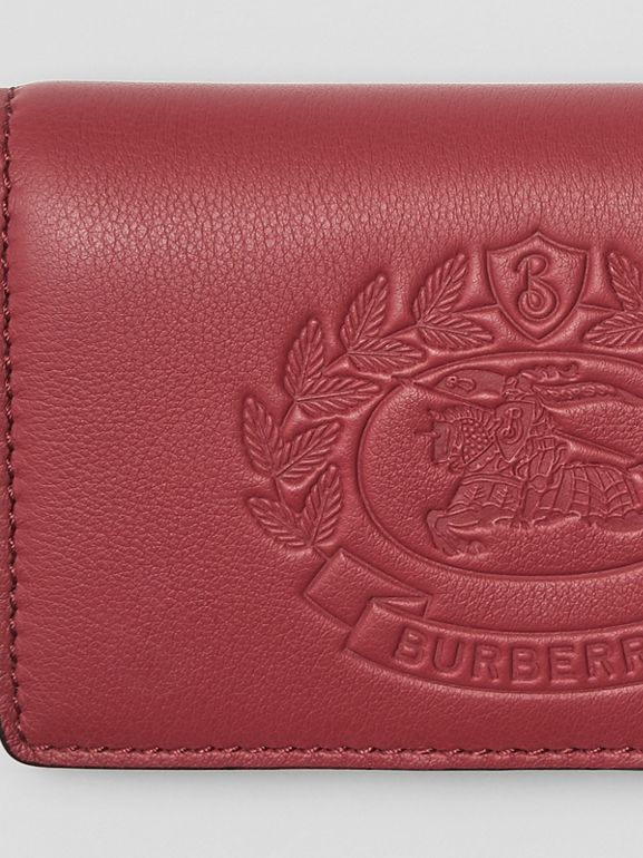 Small Embossed Crest Two-tone Leather Wallet in Crimson - Women | Burberry Hong Kong - cell image 1
