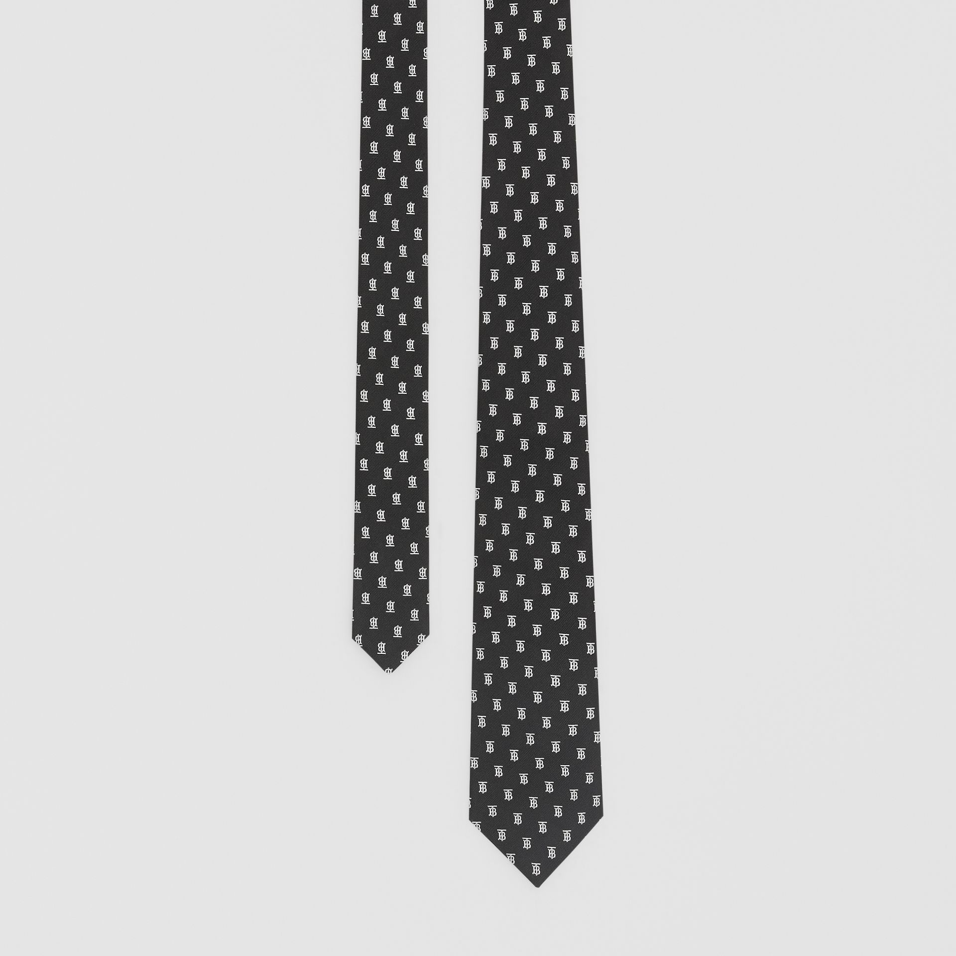 Classic Cut Monogram Motif Silk Jacquard Tie in Black - Men | Burberry - gallery image 0