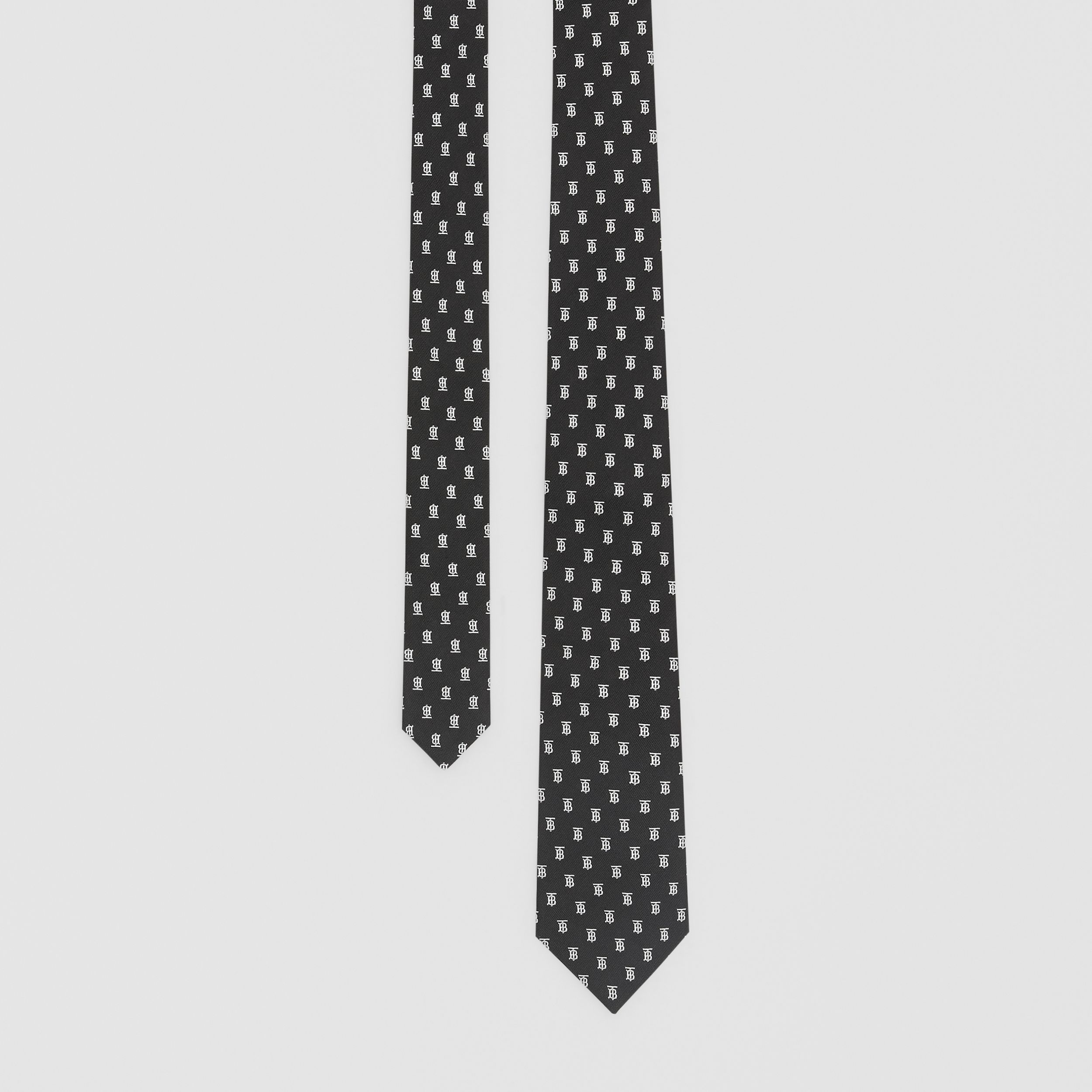 Classic Cut Monogram Motif Silk Jacquard Tie in Black - Men | Burberry - 1