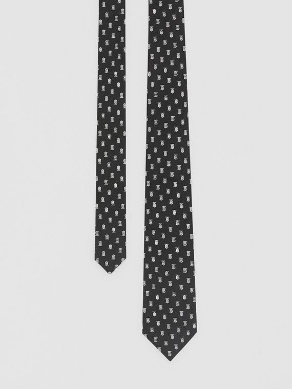 Classic Cut Monogram Motif Silk Jacquard Tie in Black