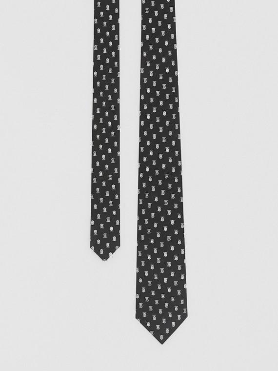 Gravata de seda com monograma em jacquard e corte clássico (Preto)