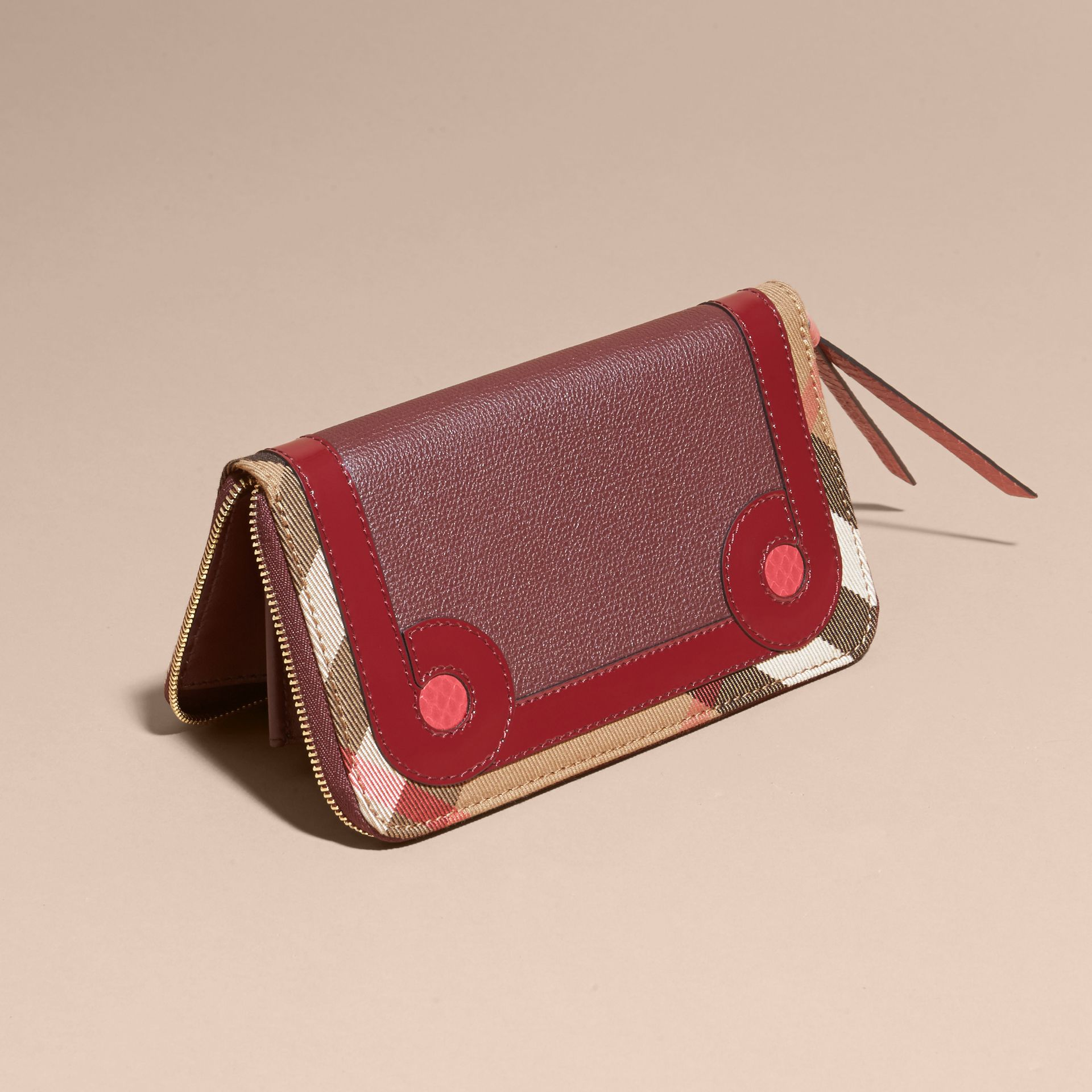 Mahogany red Snakeskin and House Check Ziparound Wallet Mahogany Red - gallery image 4