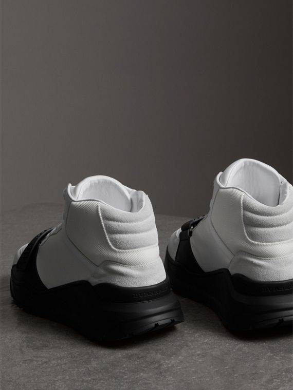 Suede Trim Neoprene High-top Sneakers in Optic White/black | Burberry - cell image 3