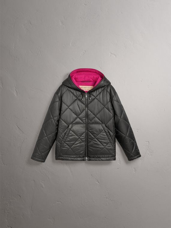 Reversible Diamond Quilted Hooded Jacket in Black - Women | Burberry Singapore - cell image 3